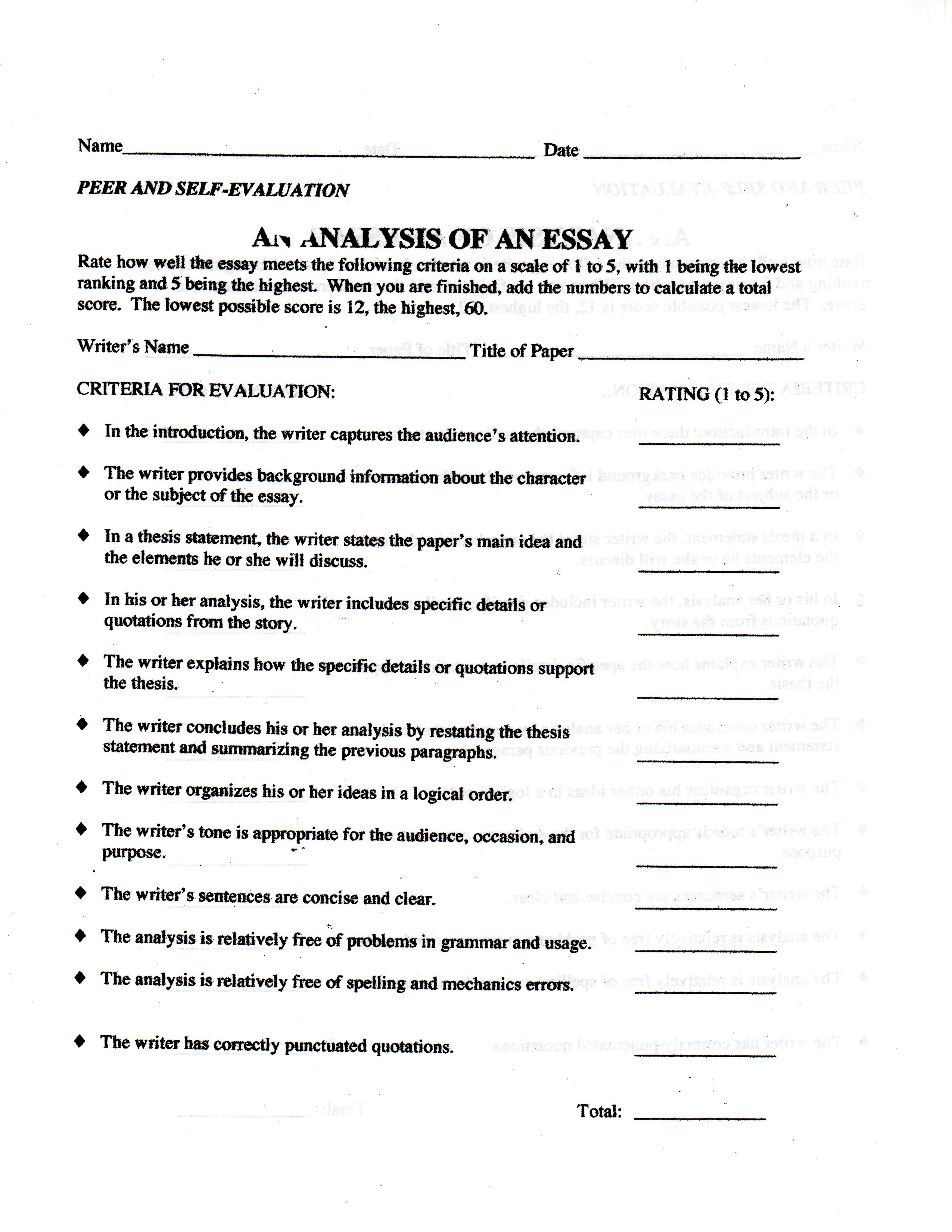 mrs thomas english class essay peer self evaluation form